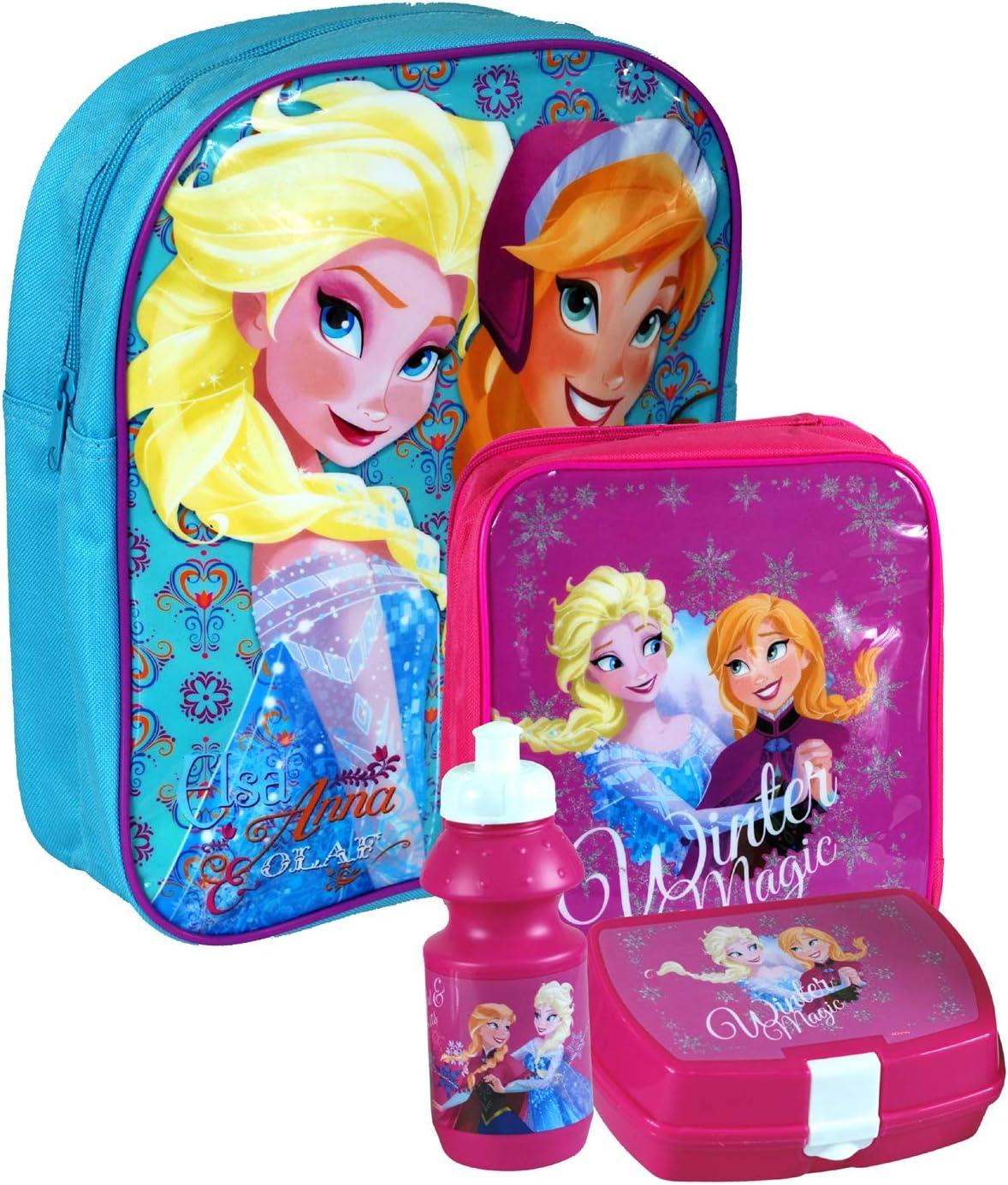 Box 8pc Girls Back to School Disney Lunch Bag Drinking Bottle /& Stationery Set