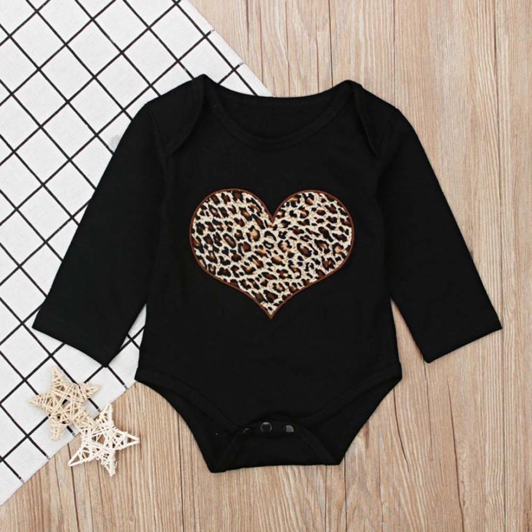 Culater 2018 ❤️❤ Ragazze Neonate T-Shirt a Maniche Lunghe con Stampa Leopardata Tuta Pagliaccetto Set di Vestiti per Ragazze Bayby