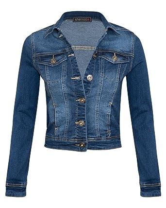 73e349f416 Shelikes New Womens Short Cropped Mid Wash Blue Stretch Denim Long Sleeve  Lightweight Jacket at Amazon Women s Coats Shop