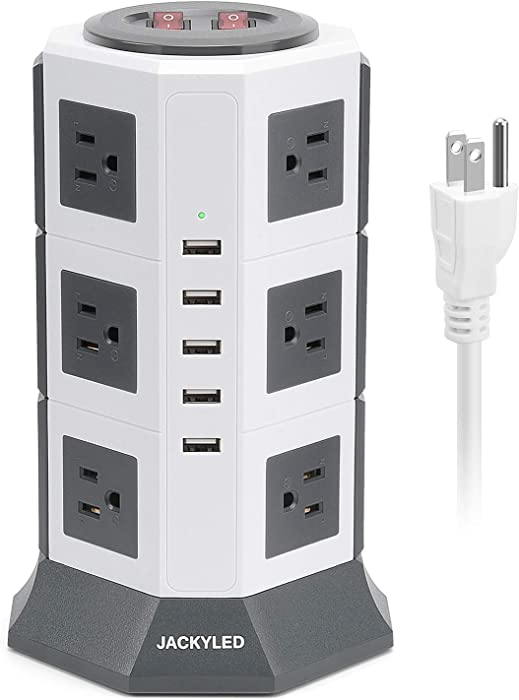 Surge Protector Power Strip Tower JACKYLED 12 AC Outlets 3000W 15A and 5 USB Slots 8A Desktop Smart Universal Charging Station Multiple Protection Heavy Duty 6.5ft 14 AWG Extension Cord White and Grey