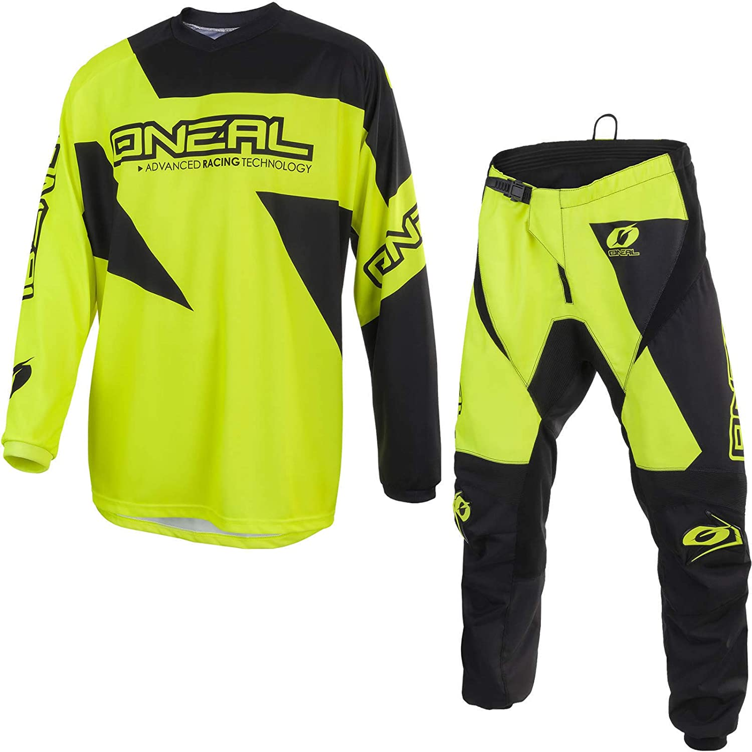 2019 ONEAL MATRIX Adult MX Motorcycle ATV Quad Dirt Bike Enduro Motocross Gear Protective Clothing Off Road Race Suit (NEON YELLOW) (YELLOW : TOP (L), PANT : 36 inches)