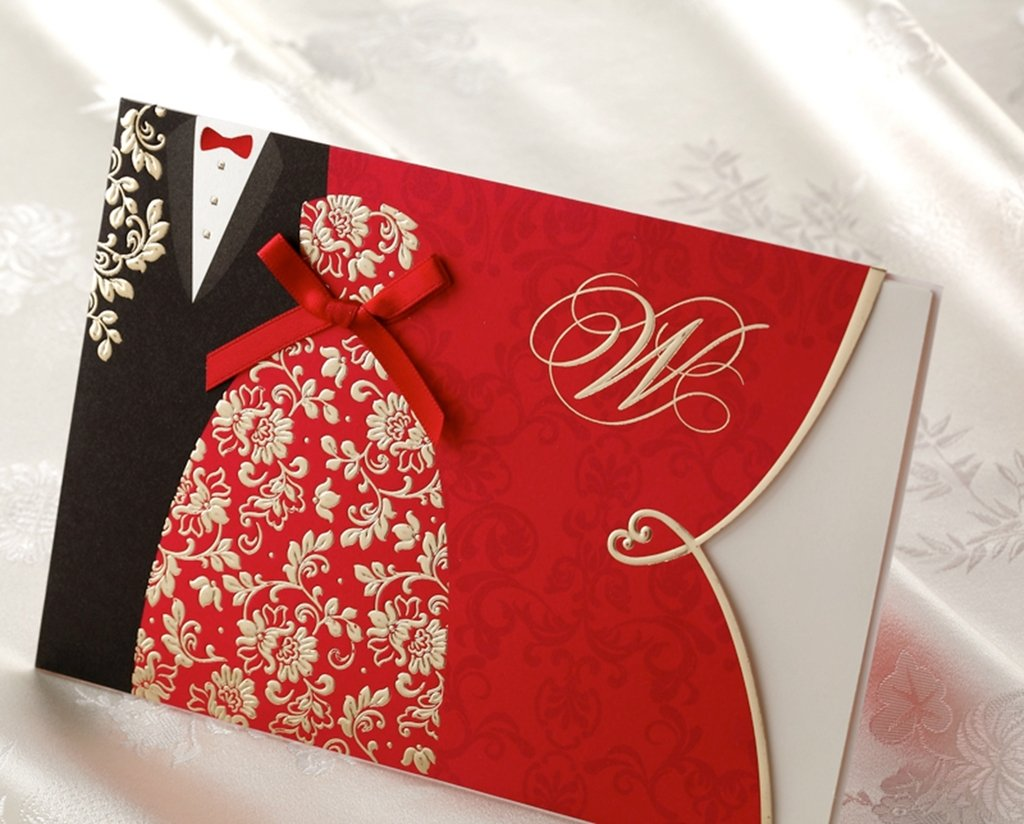 Asian Style Embossed Wedding Invitation-Set Of 50 WIN029: Amazon.co ...