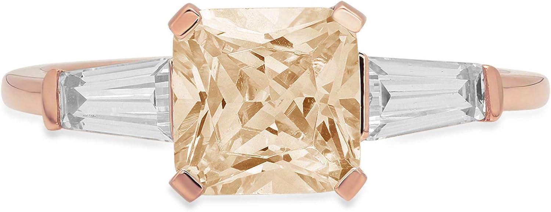 1.56ct Square Emerald Baguette cut 3 stone Solitaire Designer Genuine Natural Morganite Gemstone Ideal VVS1 Engagement Promise Statement Anniversary Bridal Wedding ring Solid 14k Pink Rose Gold