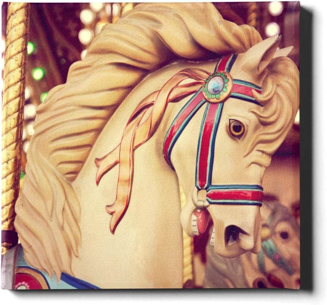 AQQA Cuadro en Lienzo Impresiones 20 x 24 Pulgadas (50 x 60 cm) tiovivo Caballos de Madera Pintura de Pared Lienzo Pintura Decorativa Adecuada para decoración del hogar