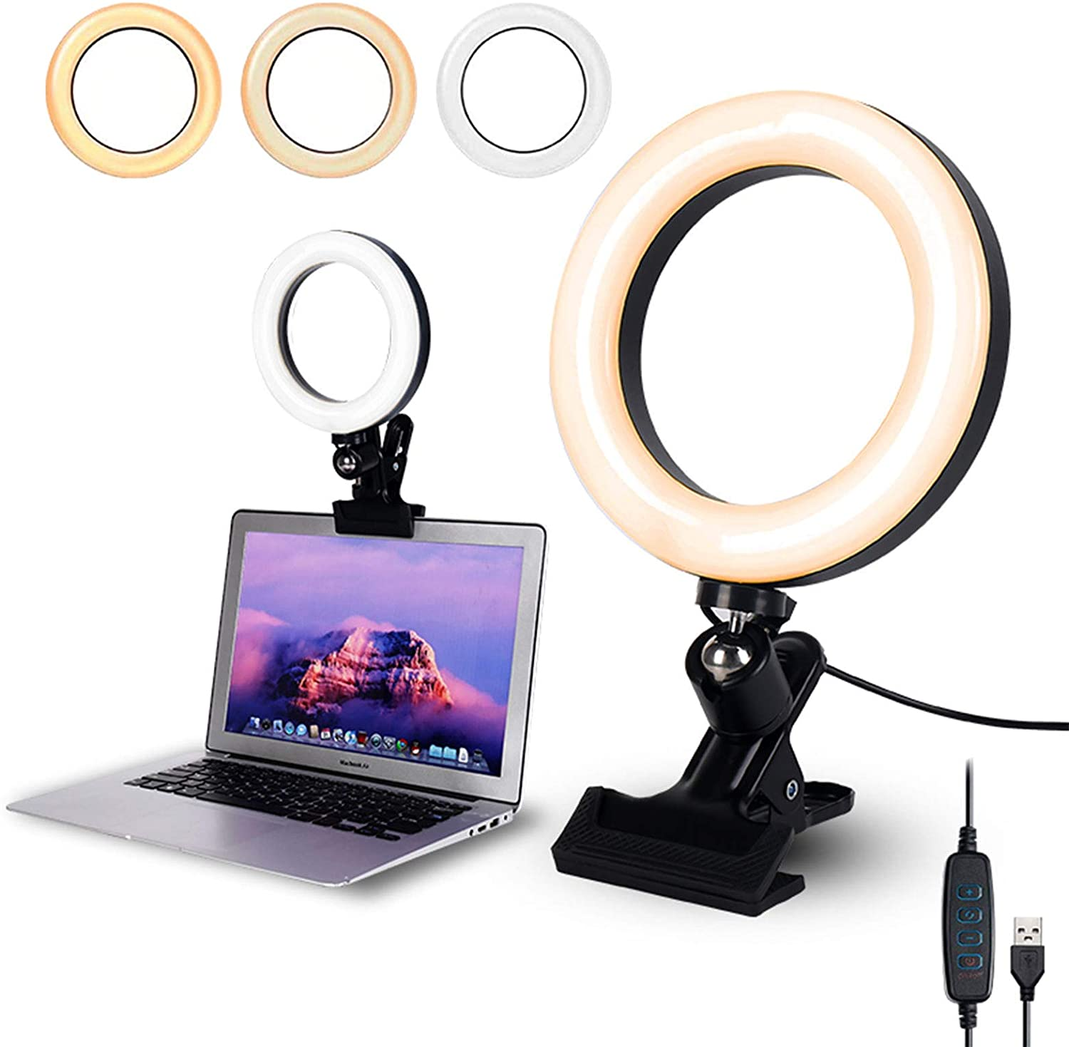 Self Broadcasting and Live Streaming Video Conference Lighting Kit 6.3 LED Selfie Ring Light for Remote Working Zoom Call Lighting Distance Learning Light for Monitor Clip On