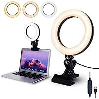 Videokonferensbelysning, 16 cm selfie-ringlampa med klämfäste för videokonferenser, webbkamerabeljus med 3 ljuslägen och…