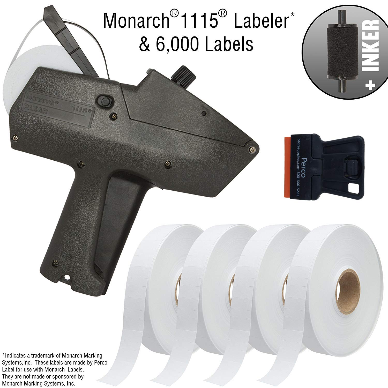 Monarch 1115 Price Gun with Labels Starter Kit: Includes Price Gun, 6,000 White Pricing Labels, Inker and Label Scraper by Perco (Image #1)