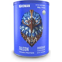 Birdman Falcon Protein, Vegan Protein Powder 1.38lb, 21 Servings, Chocolate, Organic, Plant-Based, Raw, Gluten Free, No Sugar Added, Low Carb, Non-GMO, Non Dairy, Lactose Free, Soy Free, Drink Mix