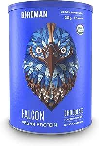 Birdman Falcon Protein Premium Vegan Protein Powder, Plant Based Protein Powder, Certified Organic, Kosher, Non Dairy, Gluten Free, Keto-Friendly, Gluten Free, Chocolate Flavor, 21 Servings 1.38lb
