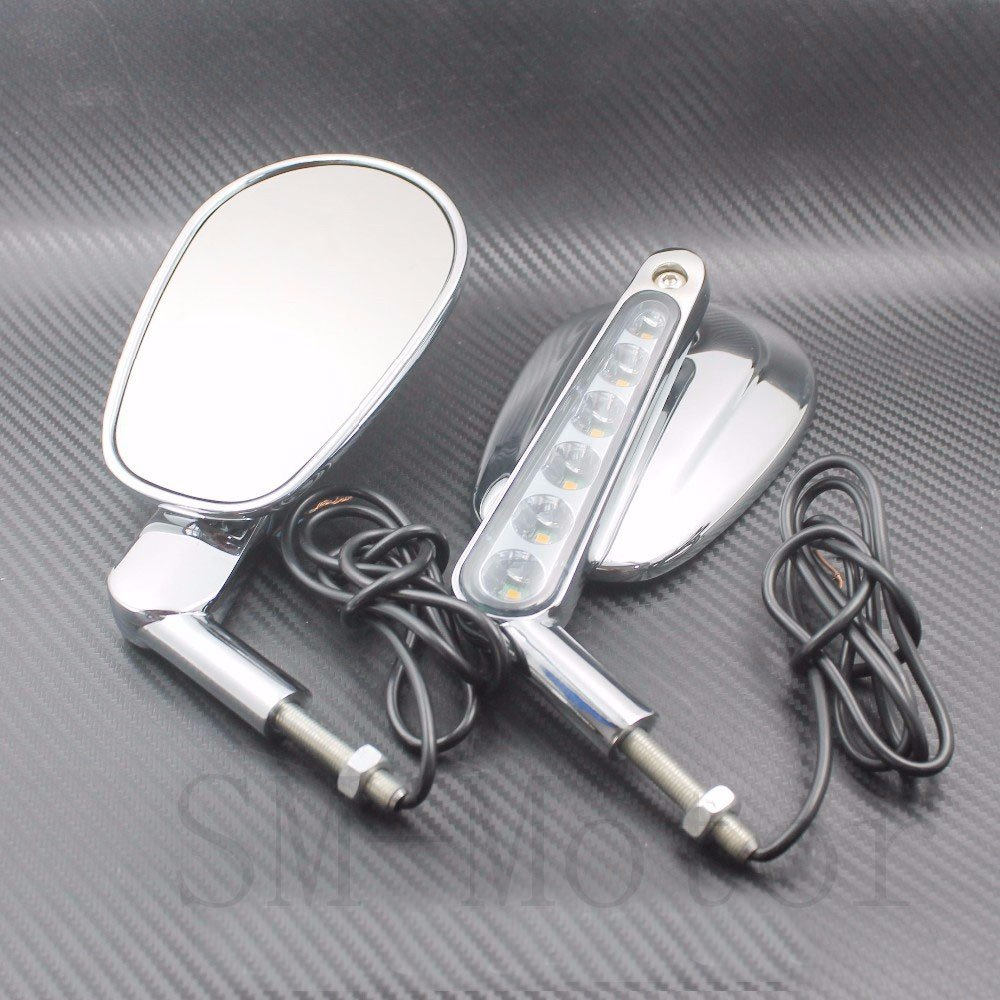 Silver Muscle Rear View Mirrors w// LED Front Turn Signals For Harley V ROD VRSCF