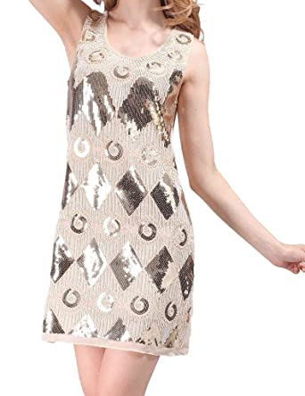 Hblld Women Round Neck Sequin Party Prom Flapper Cocktail Dress Ball Gowns Beige