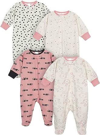 Gerber Baby Girls 4 Pack Sleep N Play Footie
