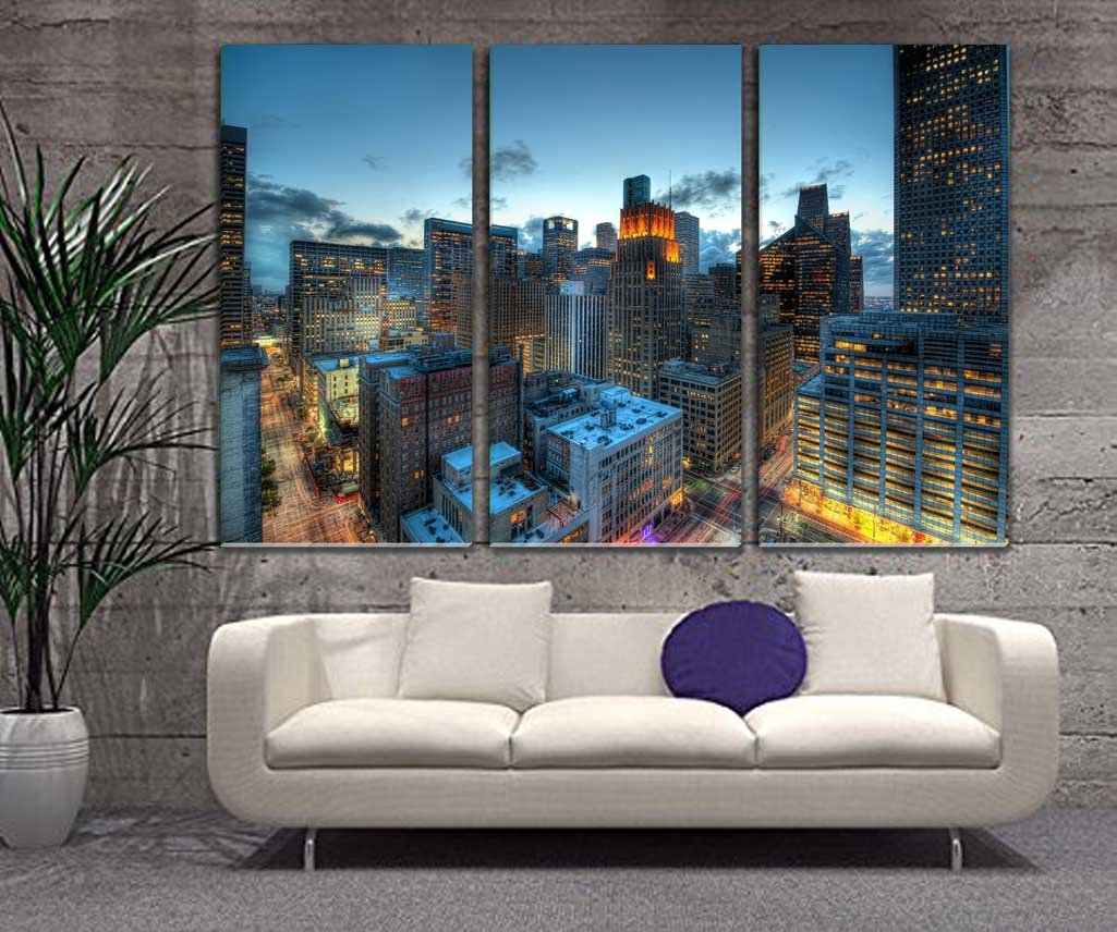 Cheap LARGE Wall Art - Houston Downtown Skyline Buildings Night Painting - 20x40 Inch Each Panel, 150x100 cm Total
