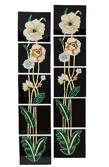 m 10x Fliese handbemalt Kachel Replika Antik-Stil Jugendstil Set