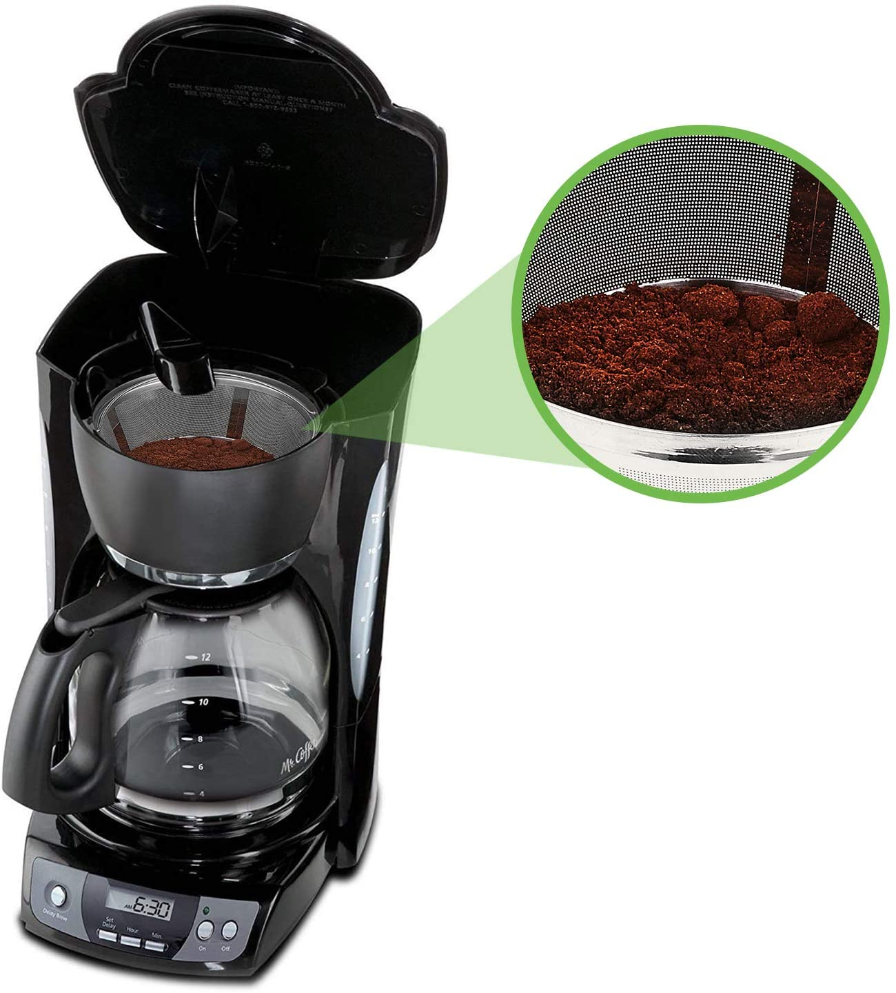 Reusable Coffee Filters 8-12 Cup Permanent Coffee Filters Basket Washable Compatible with Mr. Coffee Black & Decker Coffee Maker Filter Parts BPA-free