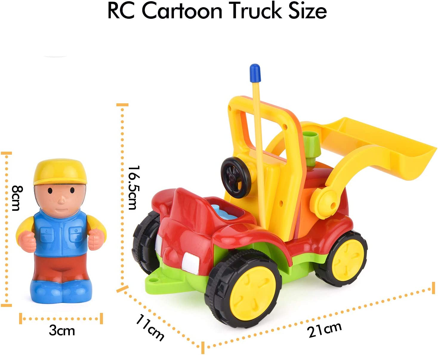 Remote Control Toddlers Construction Vehicles Car,Digger with Music and Light,Birthday Gift for Boys Girls Kids,Red