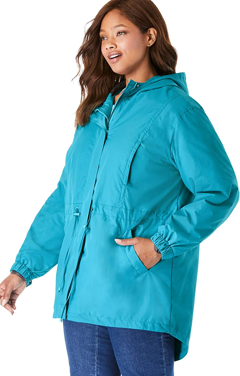 Woman Within Womens Plus Size High-Low Hooded Taslon Jacket