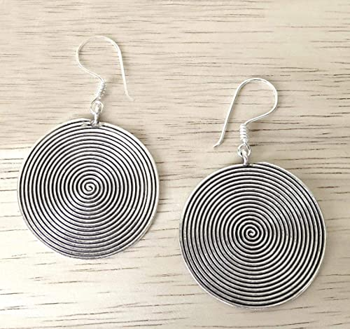 Petite Hoop Earrings Black Dangling Discs Gypsy Boho Costume Jewelry Silver Tone Fashion Accessories For Her