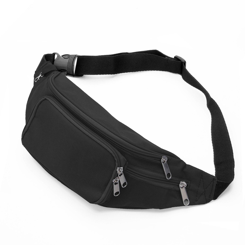 SAVFY Bum Waist Bag - [ 4 Zipper Pockets ] Waist Travel Hiking Outdoor Sport Bum Bag Holiday Money Hip Pouch with Adjustable Belt Passport Wallet Ticket Fanny Pack Festival - Black by SAVFY