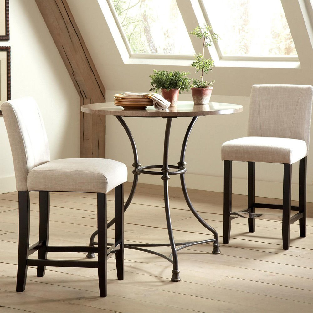 1PerfectChoice 3 pc Round Bar Counter Height Table Single Pedestal Padded Ivory Chairs Barstool