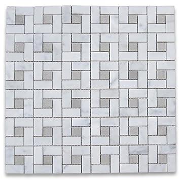 Carrara White Italian Carrera Marble Target Pinwheel Mosaic Tile - Carrara basketweave tile gray dot