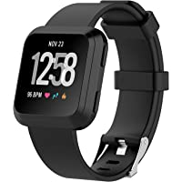 """Fitbit Versa Watch Bands , IVSO Men Women Kids 11 Colors Soft TPE Silicone Sport Quick Release Classic Loop Band Adjustable Strap Wristbands Accessory Replacement Watch Bands For Fitbit Versa Smartwatch ,Black , 5.5""""-7.1"""""""