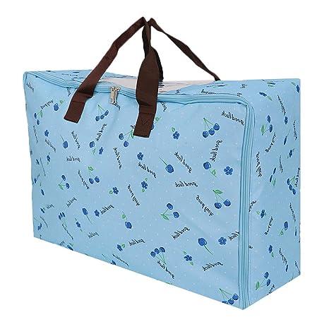 MagiDeal Grand Sac Stockage Vêtement Zippé Déménagement Voyage en Tissu Oxford Durable - Blue Chenny, L