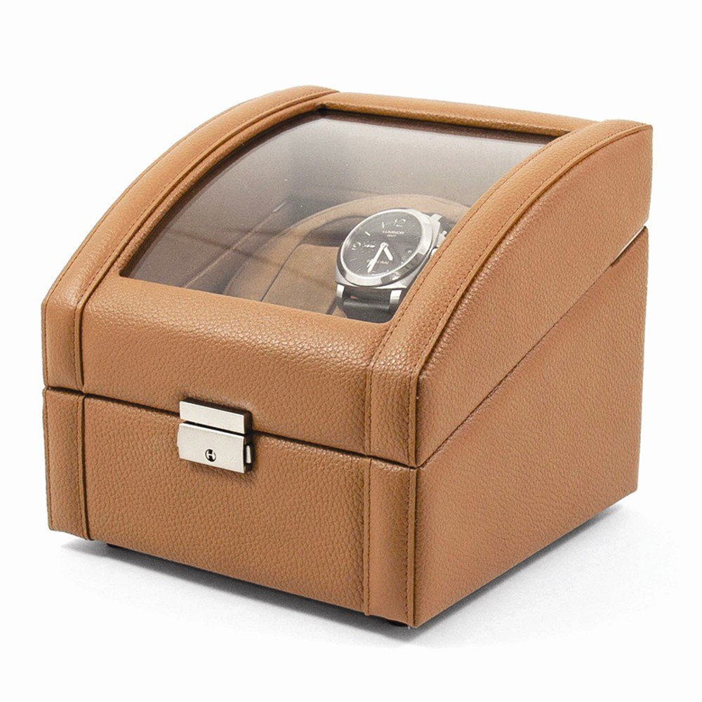 Top 10 Jewelry Gift Tan Leather Glass Top Dual Watch Winder