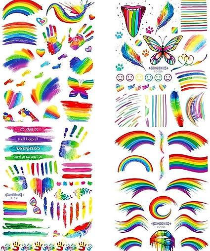 4 PCS Tatuajes Temporales de Arcoíris, Gay Pride LGBT Pegatinas ...