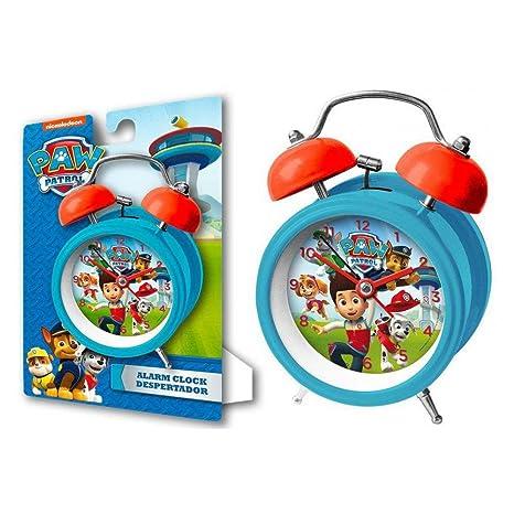 Kids Euroswan Reloj Despertador para Campanas de 9 cm Modelo Paw Patrol, Compuesto, 8x3x6 cm