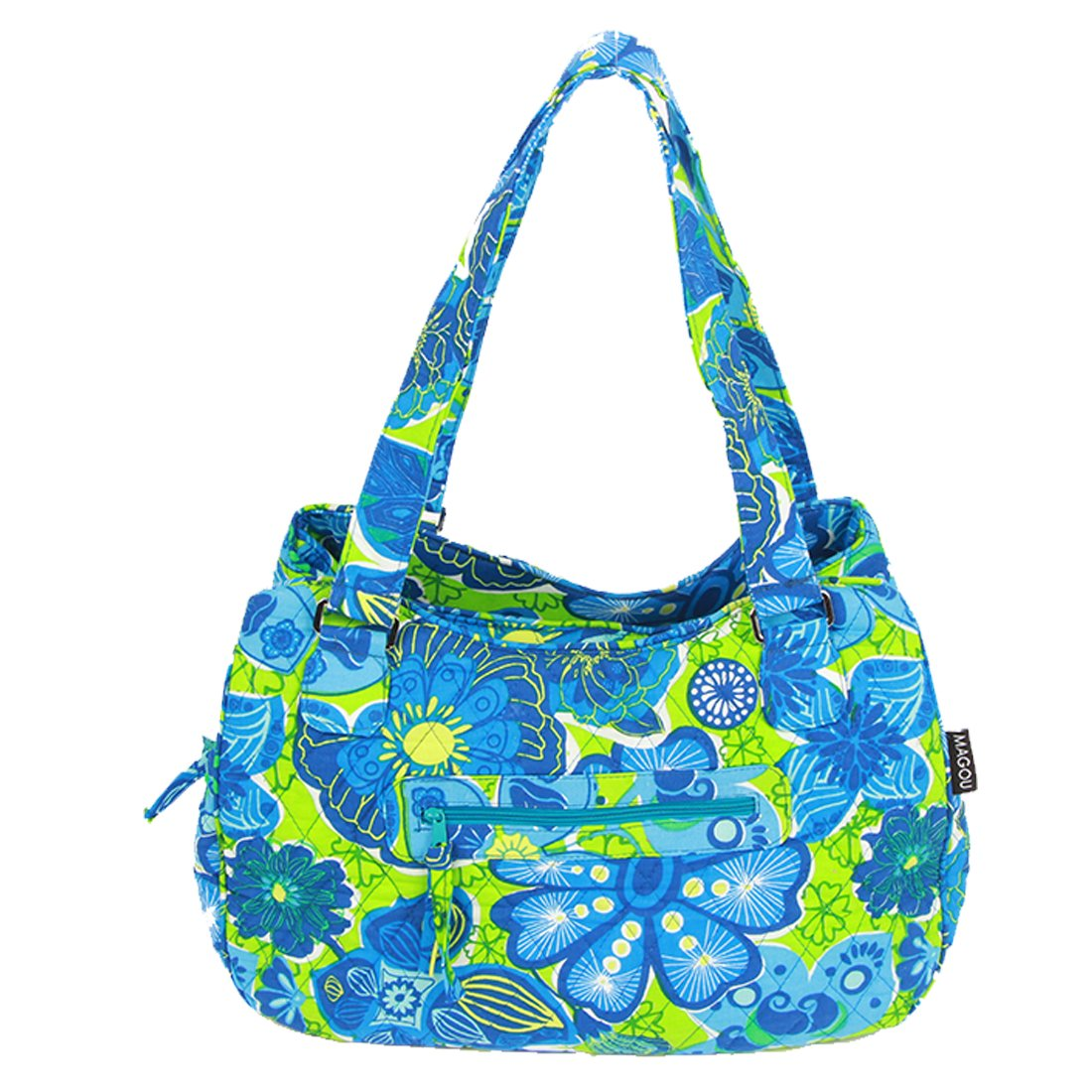 MAGOU Quilted Cotton Handle Bags Shoulder Bag (Green-Blue) by MAGOU