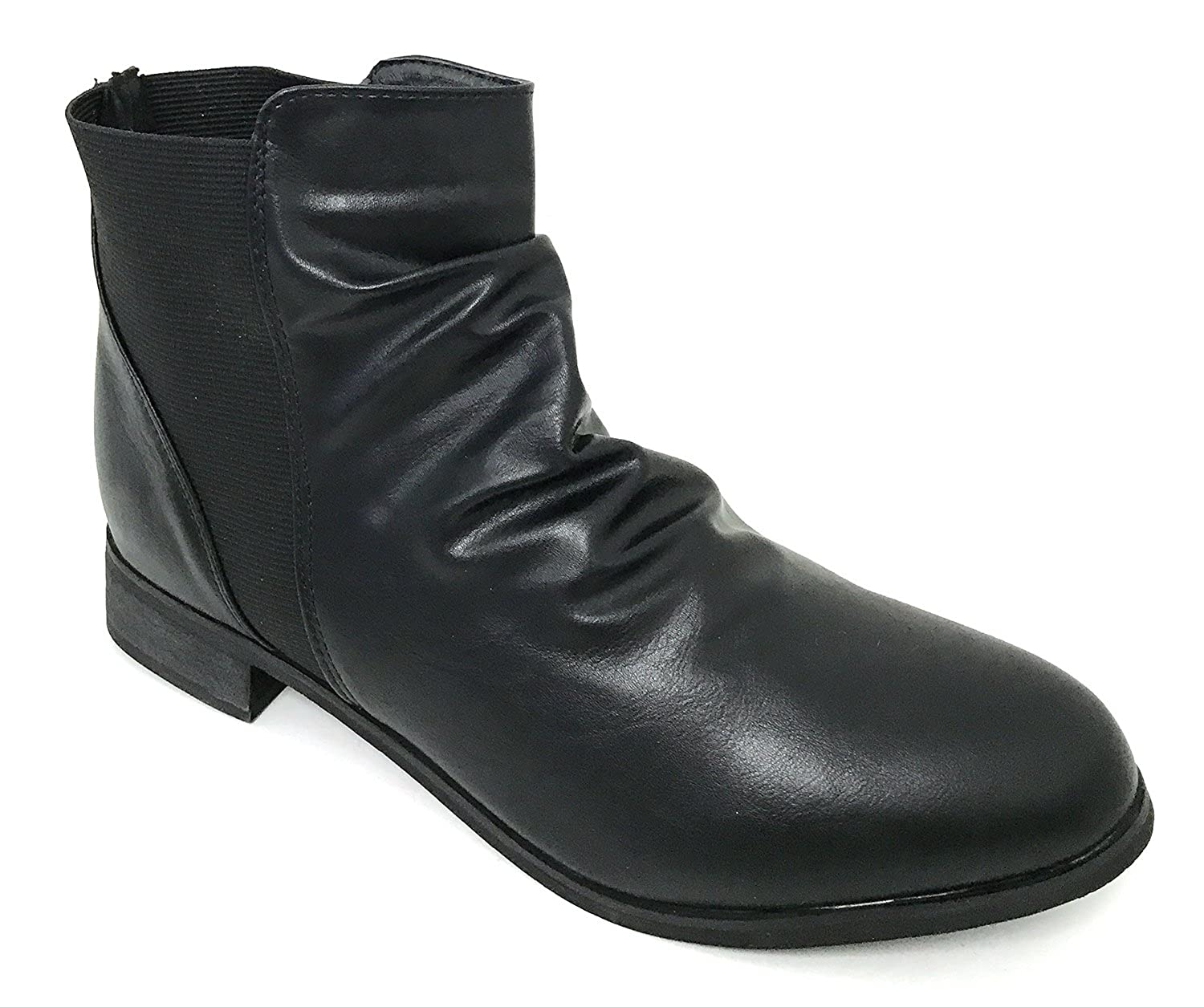 G4U-SC B618S Womens Boots Faux Leather Elastic Side Gores Ankle Slouchy Western Shoes Black
