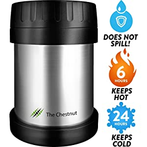 Soup Food Jar for Hot Food 10 oz - Non-Insulated Small Stainless Steel Thermo Lunch Box - Small Travel Vacuum Metal Container - Food Flask Wide Mouth