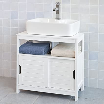 Enjoyable Haotian White Under Sink Bathroom Storage Cabinet With Shelf And Double Sliding Door Bathroom Vanity 60X30X60Cm Frg128 W Interior Design Ideas Ghosoteloinfo