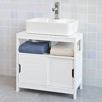 Haotian FRG128-W White Under Sink Bathroom Storage Cabinet with Shelf and Double Sliding Door Bathroom Vanity 60x30x60cm - - Amazon.com & Haotian FRG128-W White Under Sink Bathroom Storage Cabinet with ...