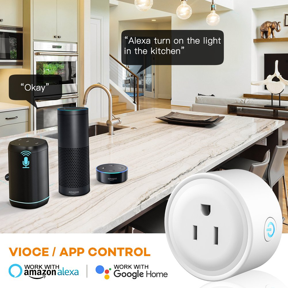 WiFi Smart Plug Mini Outlet, Works with Amazon Alexa Echo, Google Assistant, Support IFTTT (White) (1 Pack) by EECOO (Image #2)