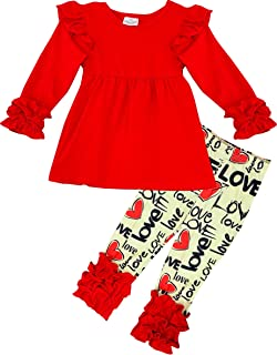 9253b31bada1 Amor Bee Girls Valentine's Day Themed I Love You Outfit Set - 2 Piece Top  Legging