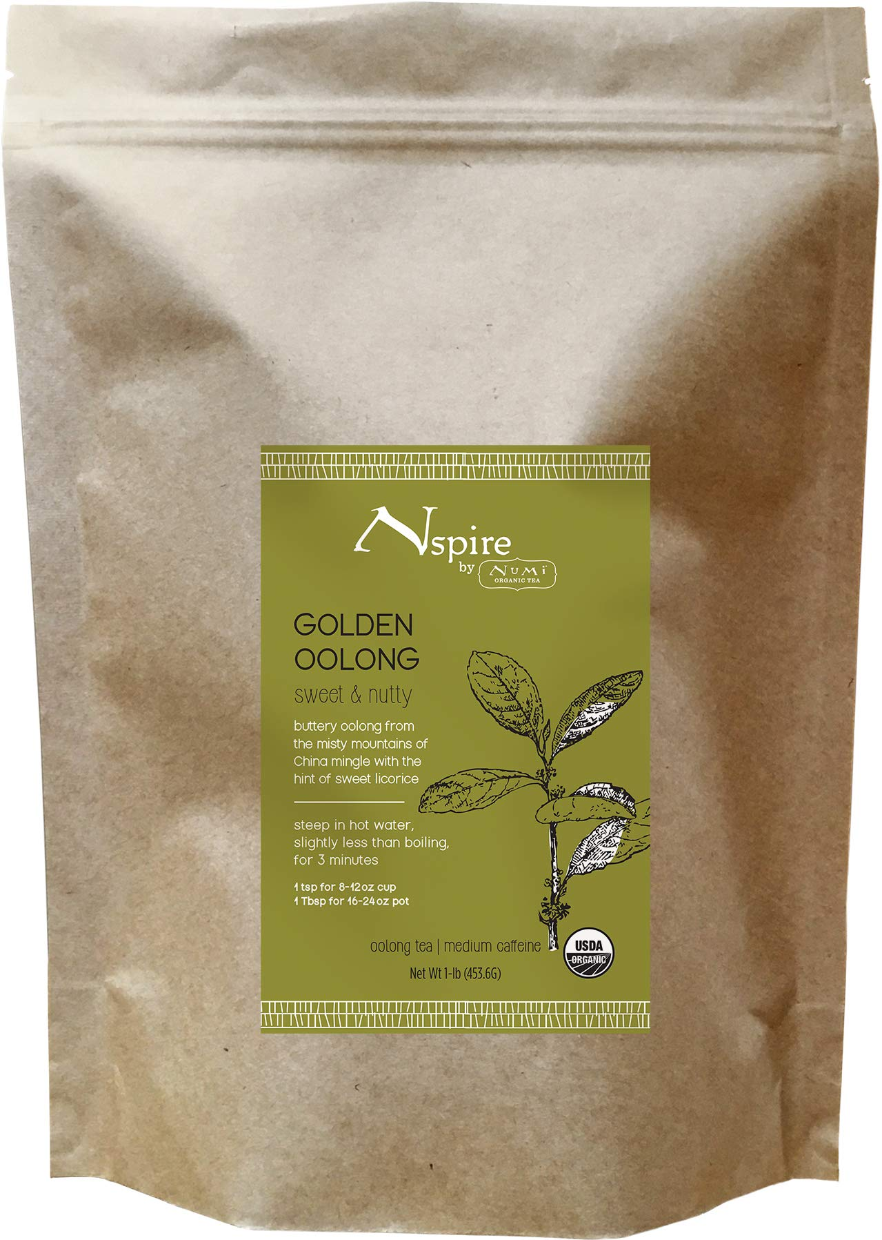 Nspire by Numi Organic Tea Golden Oolong, 16 Ounce Pouch, Loose Leaf Ti Kuan Yin by Numi