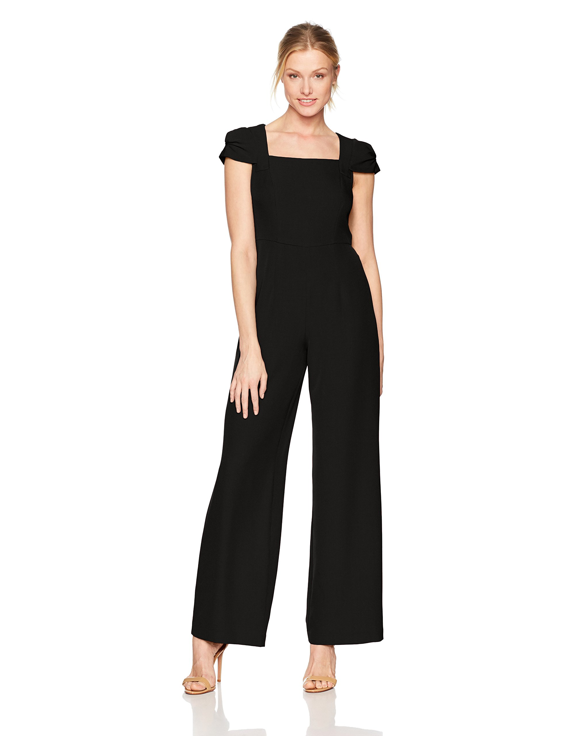 Adrianna Papell Women's Stretch Crepe Jumpsuit, Black, 8