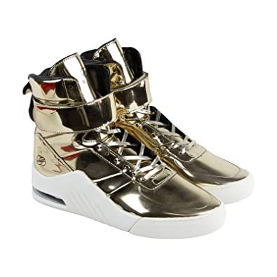 9a041cf3b1ed04 Radii Apex Mens Gold Patent Leather High Top Lace Up Sneakers Shoes 9