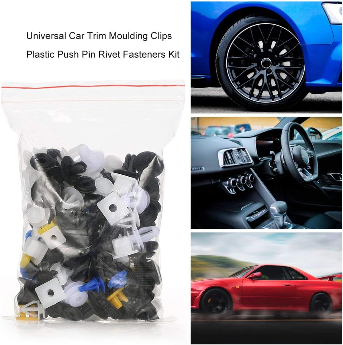 Universal-Auto Body Trim Moulding Clips aus Kunststoff Push-Retainer Pin Rivet Fasteners Plattenhalter Clips Sortiment Kit Farbe: Mischungsfarbe-400pcs