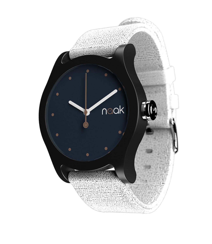 Naak Black Moon Reloj para Unisex Analógico de Cuarzo con Brazalete de Nylon 017-BMO-RMK: Amazon.es: Relojes