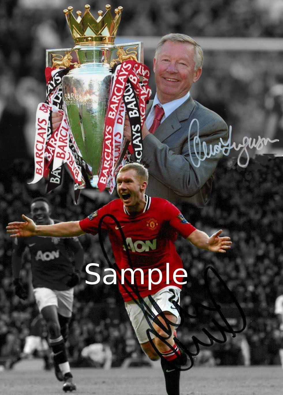 Sign/ée The Ferguson ans Manchester United Wayne Rooney Photo Ryan Giggs Cristiano Ronaldo Eric Cantona David Beckham Paul Black-scholes autographe Cadre photo Cadeau Blanc