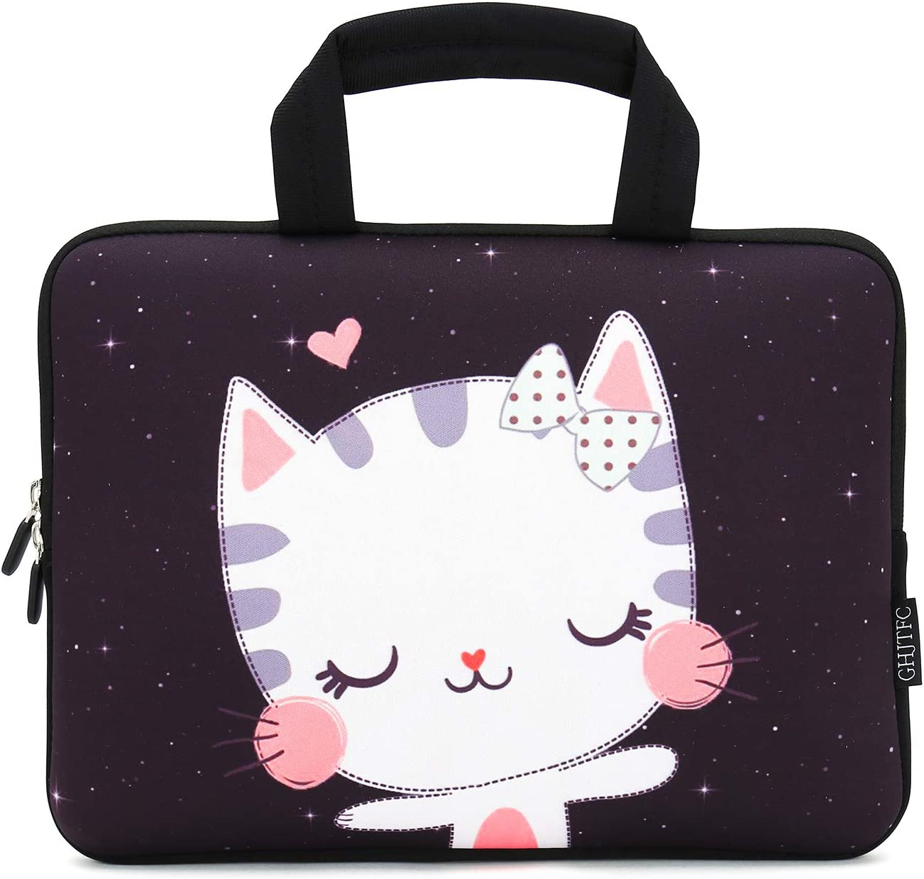 """12 Inch Laptop Sleeve Carrying Bag Protective Case Neoprene Sleeve Tote Tablet Cover Notebook Briefcase Bag with Handle for Women Men(Cat,12"""")"""