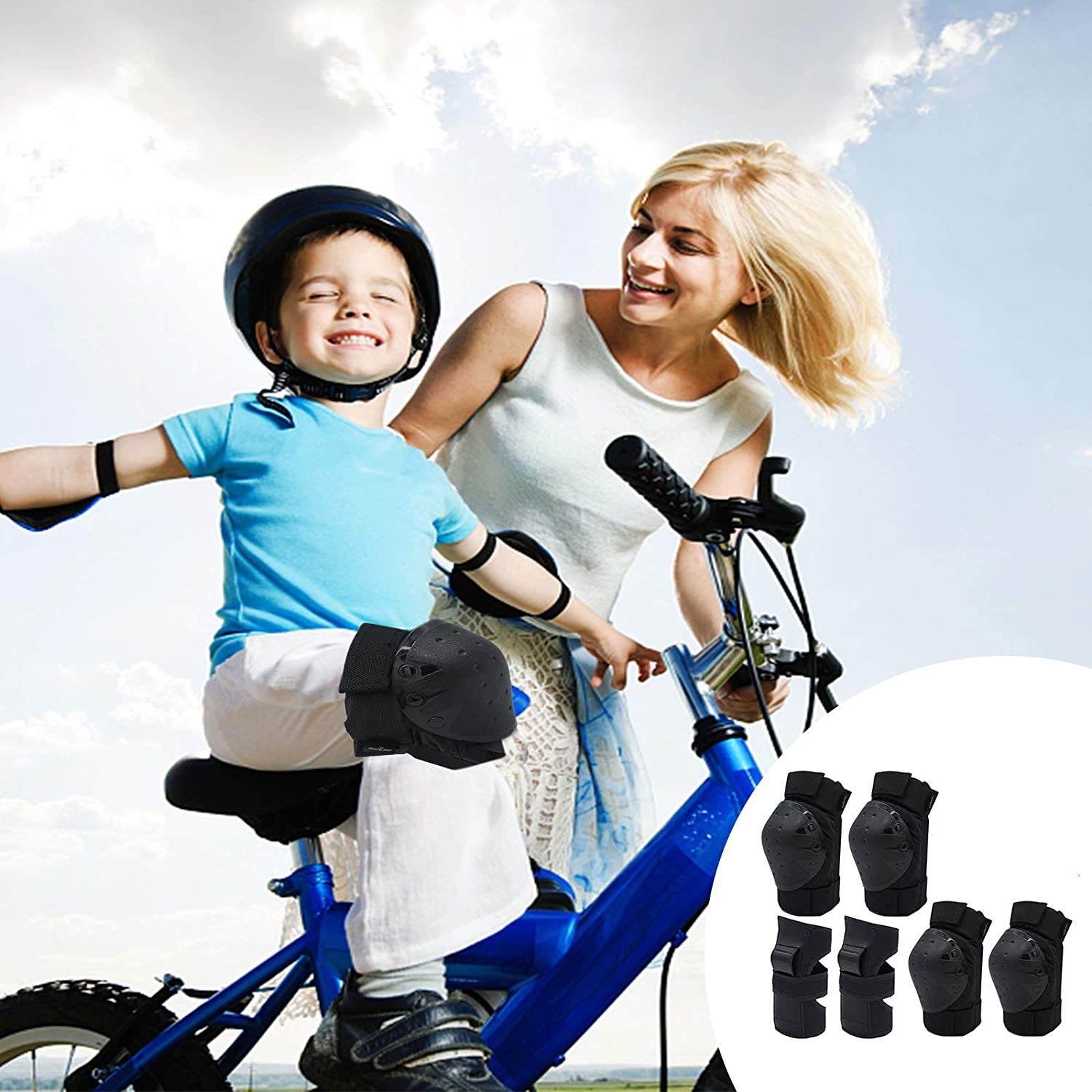 Skateboard Cycling Skating Scooter Biking Lyneun 6 in 1 Protective Gear Set with Knee Pads Elbow PadsWrist Pads for Children//Adults Rollerblading
