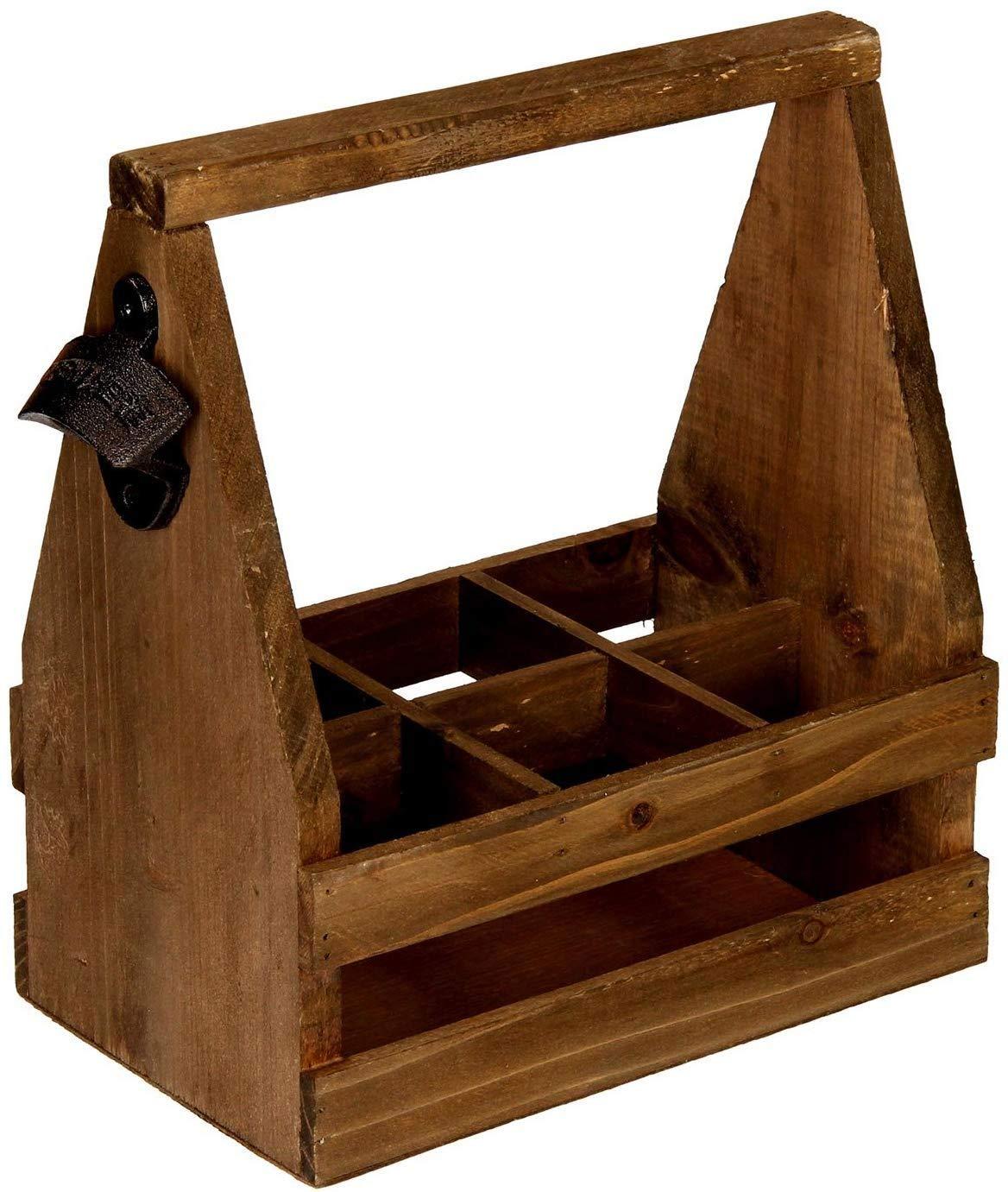 hLine Biertr/äger aus Holz mit /Öffner Herren Handtasche 6 Flaschen