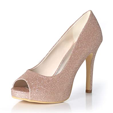 b8eb60943855 LLBubble Women High Heels Platform Sequin Wedding Shoes Peep Toe Bridal  Pumps Formal Party Dress Shoes