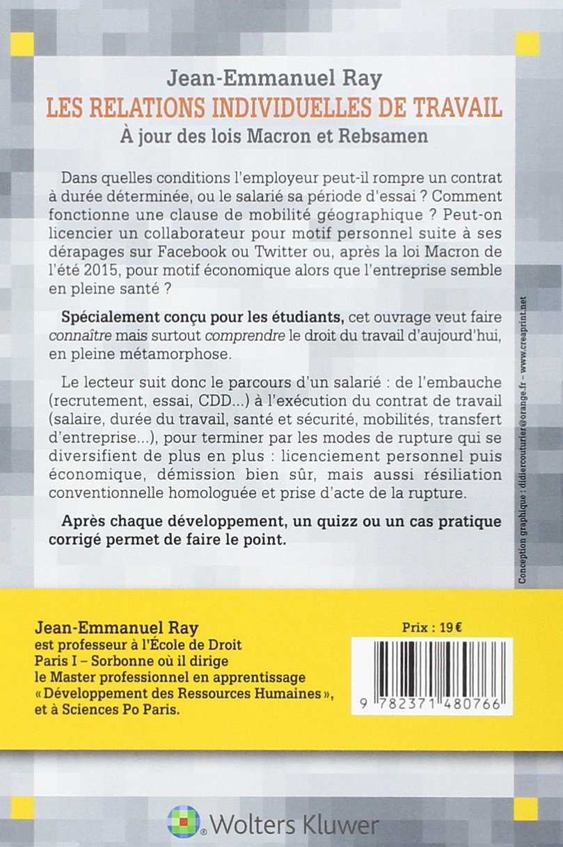 RELATIONS INDIVIDUELLES DE TRAVAIL (LES) 2016: Amazon.ca: JEAN