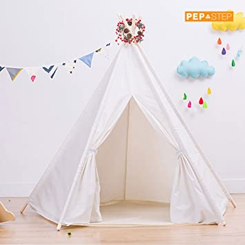Large Cotton Canvas Teepee Tent - Foldable 6 Feet Tall - 5 Poles - Customizable WHITE  sc 1 st  Amazon.com & Amazon.com: Large Cotton Canvas Teepee Tent - Foldable 6 Feet Tall ...