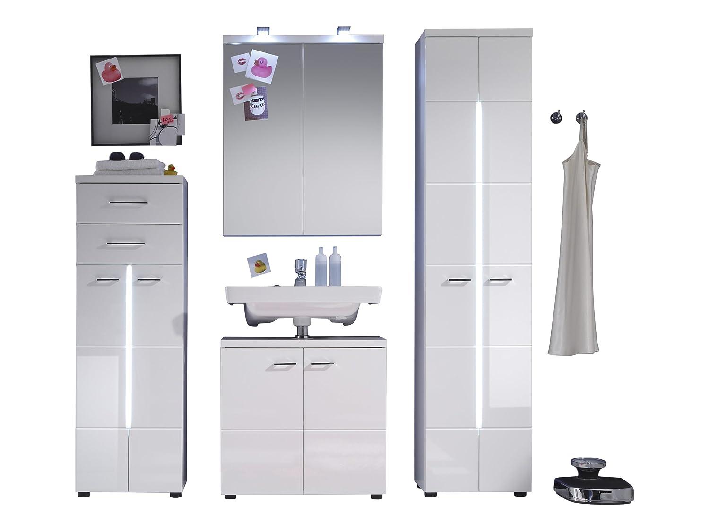 Trendteam Badezimmer Hochschrank Schrank Nightlife, 43 43 43 x 128 x 31 cm in Weiß Hochglanz mit Frontbeleuchtung ae8e9a
